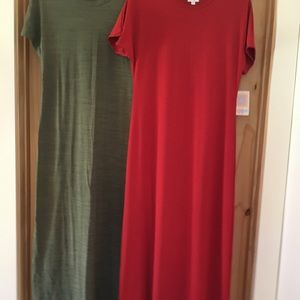 LuLaRoe Maria Dresses Red and Green